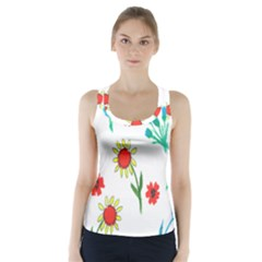 Flowers Fabric Design Racer Back Sports Top