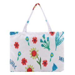 Flowers Fabric Design Medium Tote Bag