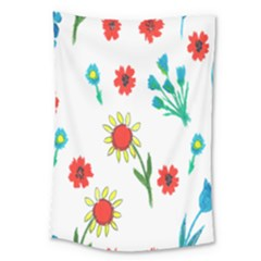 Flowers Fabric Design Large Tapestry