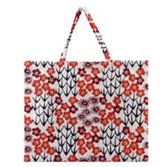Simple Japanese Patterns Zipper Large Tote Bag
