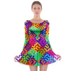 3d Fsm Tessellation Pattern Long Sleeve Skater Dress