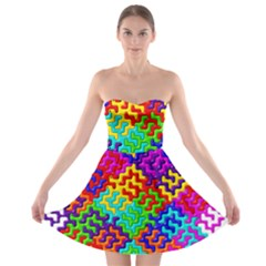 3d Fsm Tessellation Pattern Strapless Bra Top Dress