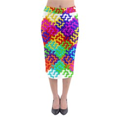 3d Fsm Tessellation Pattern Midi Pencil Skirt