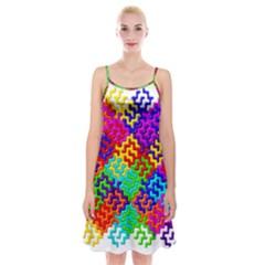 3d Fsm Tessellation Pattern Spaghetti Strap Velvet Dress
