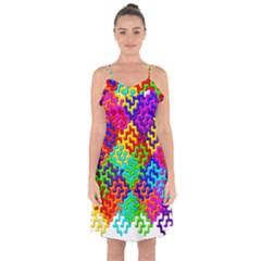 3d Fsm Tessellation Pattern Ruffle Detail Chiffon Dress