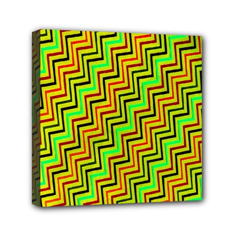 Green Red Brown Zig Zag Background Mini Canvas 6  X 6  by BangZart