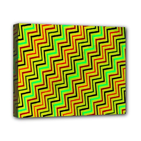 Green Red Brown Zig Zag Background Canvas 10  X 8  by BangZart