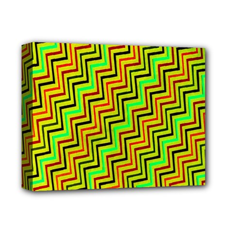 Green Red Brown Zig Zag Background Deluxe Canvas 14  X 11  by BangZart