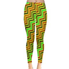 Green Red Brown Zig Zag Background Leggings