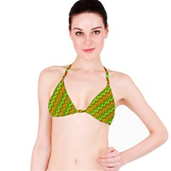 Green Red Brown Zig Zag Background Bikini Top