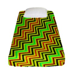 Green Red Brown Zig Zag Background Fitted Sheet (single Size)
