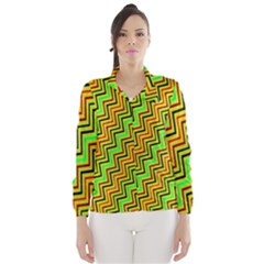 Green Red Brown Zig Zag Background Wind Breaker (women)