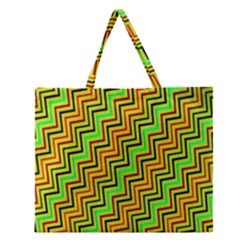 Green Red Brown Zig Zag Background Zipper Large Tote Bag by BangZart