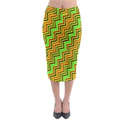Green Red Brown Zig Zag Background Midi Pencil Skirt