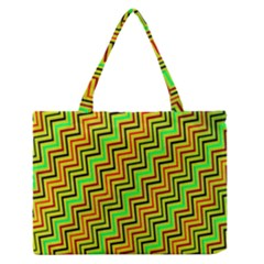 Green Red Brown Zig Zag Background Medium Zipper Tote Bag