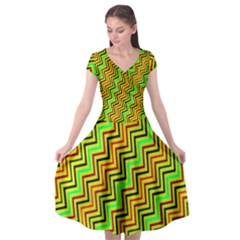 Green Red Brown Zig Zag Background Cap Sleeve Wrap Front Dress