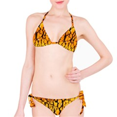 Yellow Chevron Zigzag Pattern Bikini Set