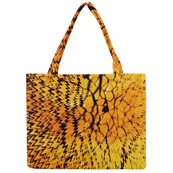 Yellow Chevron Zigzag Pattern Mini Tote Bag