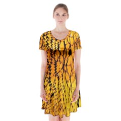 Yellow Chevron Zigzag Pattern Short Sleeve V Neck Flare Dress