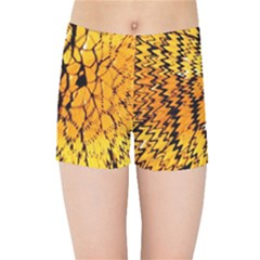 Yellow Chevron Zigzag Pattern Kids Sports Shorts