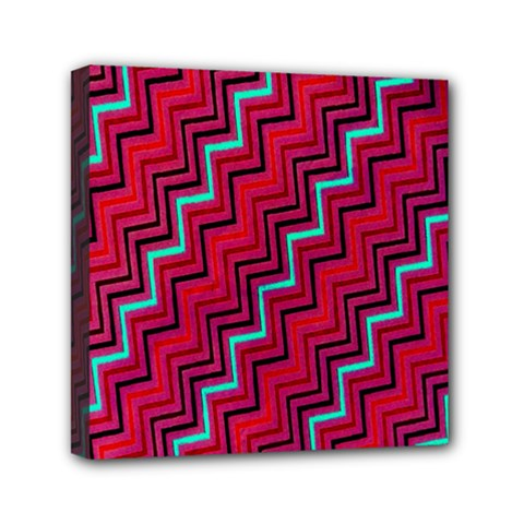 Red Turquoise Black Zig Zag Background Mini Canvas 6  X 6  by BangZart