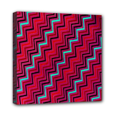 Red Turquoise Black Zig Zag Background Mini Canvas 8  X 8  by BangZart
