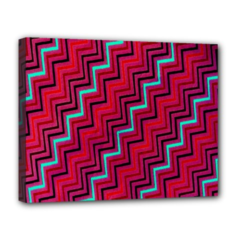 Red Turquoise Black Zig Zag Background Canvas 14  X 11  by BangZart