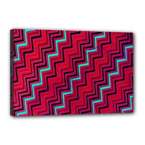 Red Turquoise Black Zig Zag Background Canvas 18  X 12