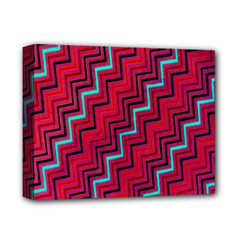 Red Turquoise Black Zig Zag Background Deluxe Canvas 14  X 11  by BangZart