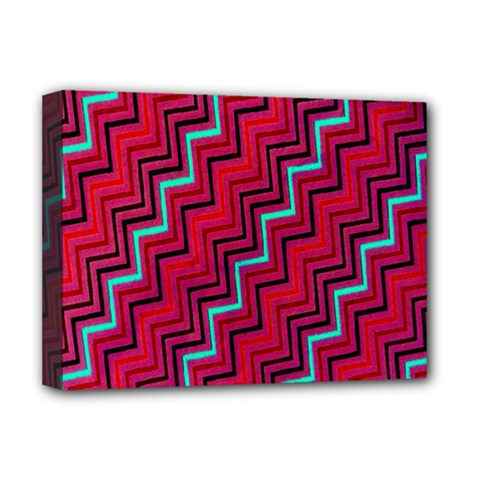 Red Turquoise Black Zig Zag Background Deluxe Canvas 16  x 12