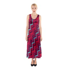 Red Turquoise Black Zig Zag Background Sleeveless Maxi Dress