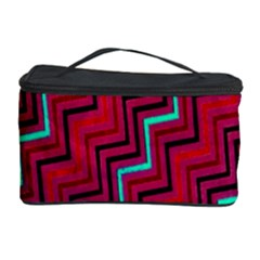Red Turquoise Black Zig Zag Background Cosmetic Storage Case by BangZart