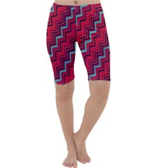 Red Turquoise Black Zig Zag Background Cropped Leggings