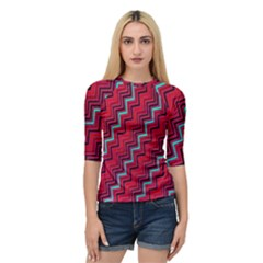 Red Turquoise Black Zig Zag Background Quarter Sleeve Tee