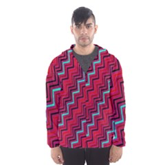 Red Turquoise Black Zig Zag Background Hooded Wind Breaker (men)