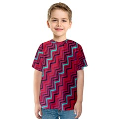 Red Turquoise Black Zig Zag Background Kids  Sport Mesh Tee