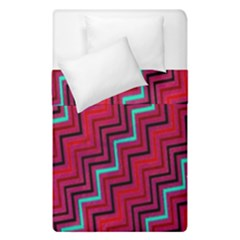 Red Turquoise Black Zig Zag Background Duvet Cover Double Side (single Size) by BangZart