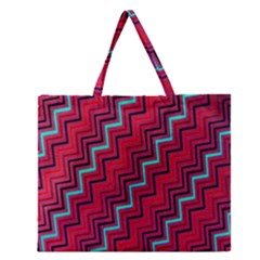 Red Turquoise Black Zig Zag Background Zipper Large Tote Bag by BangZart