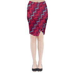 Red Turquoise Black Zig Zag Background Midi Wrap Pencil Skirt