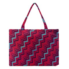 Red Turquoise Black Zig Zag Background Medium Tote Bag