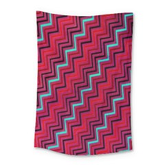 Red Turquoise Black Zig Zag Background Small Tapestry