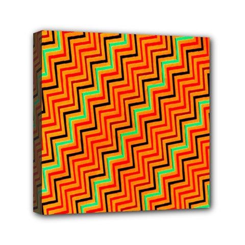 Orange Turquoise Red Zig Zag Background Mini Canvas 6  X 6  by BangZart