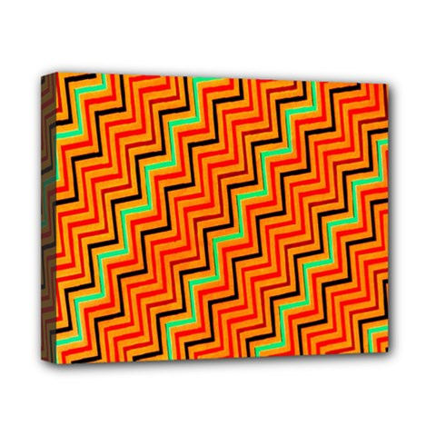 Orange Turquoise Red Zig Zag Background Canvas 10  X 8  by BangZart