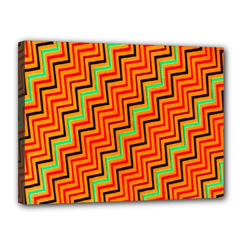 Orange Turquoise Red Zig Zag Background Canvas 16  X 12