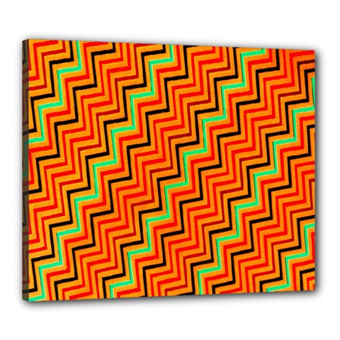Orange Turquoise Red Zig Zag Background Canvas 24  X 20  by BangZart