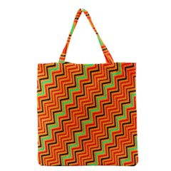 Orange Turquoise Red Zig Zag Background Grocery Tote Bag by BangZart