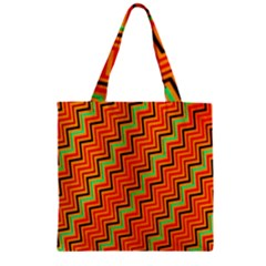 Orange Turquoise Red Zig Zag Background Zipper Grocery Tote Bag by BangZart