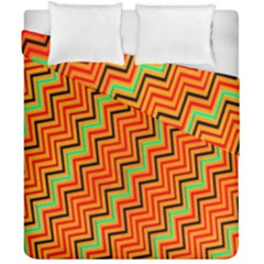 Orange Turquoise Red Zig Zag Background Duvet Cover Double Side (california King Size) by BangZart