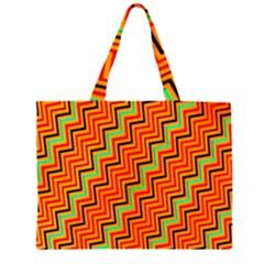 Orange Turquoise Red Zig Zag Background Zipper Large Tote Bag