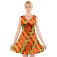 Orange Turquoise Red Zig Zag Background V Neck Sleeveless Skater Dress